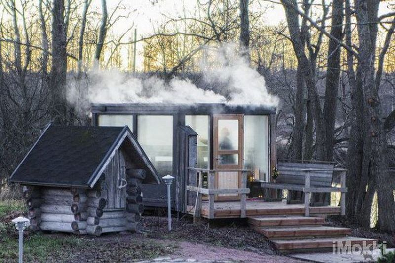 Sauna by the beach in the winter
